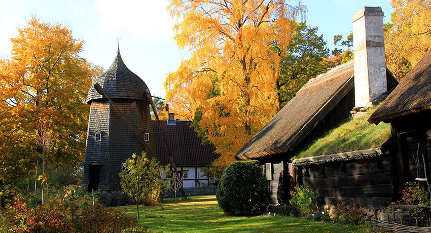The Hallandsgården open-air museum in Halmstad on an autumn day