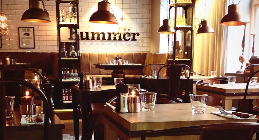 Inside the restaurant Hummër in Halmstad