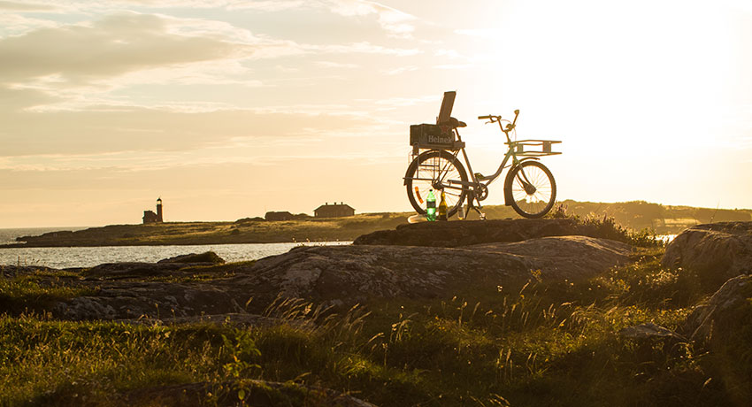 Bicycle at sunset by the sea