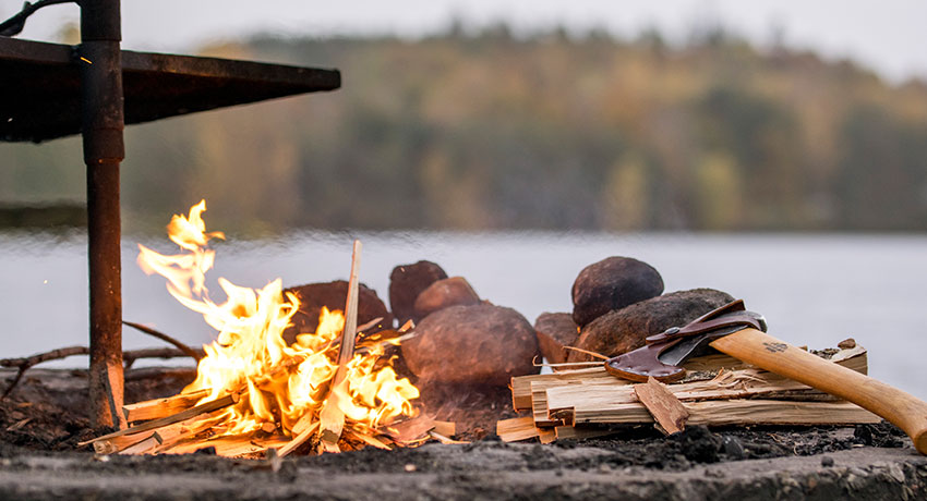 Fire with view of lake
